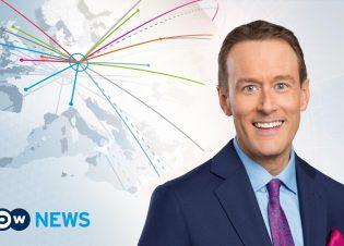 Englische Nachrichtensendung der Deutschen Welle: DW-News. Moderator Brent Goff