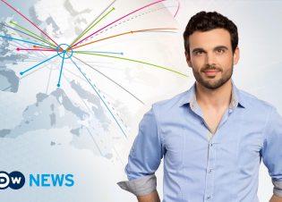 Englische Nachrichtensendung der Deutschen Welle: DW-News. Moderator Carl Nasman, Social Media