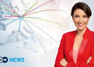 Englische Nachrichtensendung der Deutschen Welle: DW-News. Moderatorin Laila Harrak